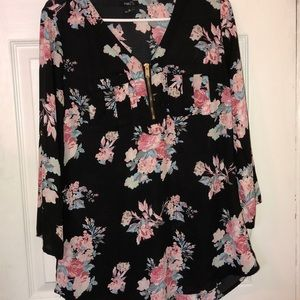 Med  black dressy shirt with pink flowers gorgeous